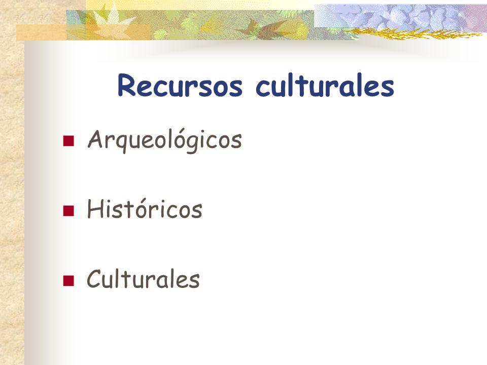 Recursos culturales Arqueológicos Históricos Culturales