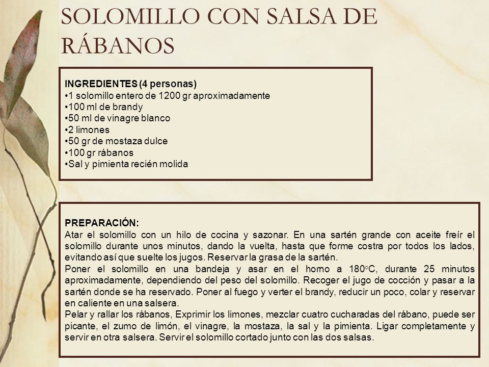 SOLOMILLO CON SALSA DE RÁBANOS