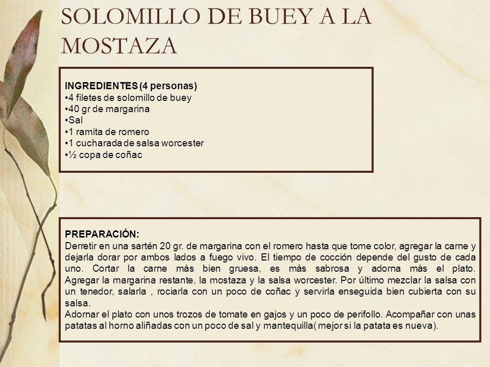 SOLOMILLO DE BUEY A LA MOSTAZA