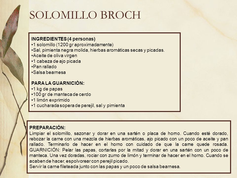 SOLOMILLO BROCH INGREDIENTES (4 personas)
