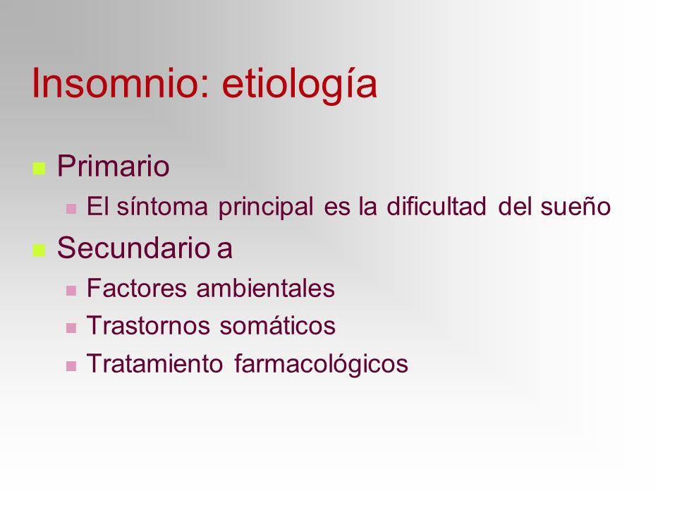 Insomnio: etiología Primario Secundario a