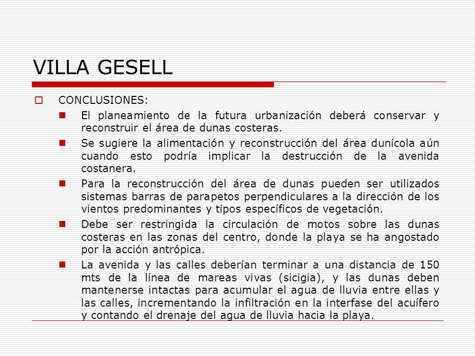 VILLA GESELL CONCLUSIONES:
