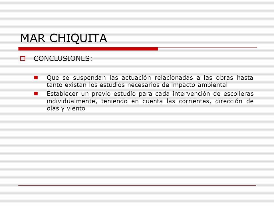 MAR CHIQUITA CONCLUSIONES: