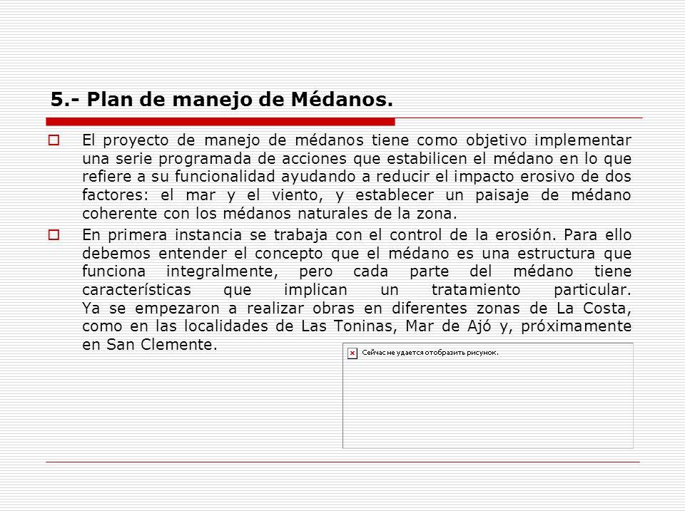 5.- Plan de manejo de Médanos.