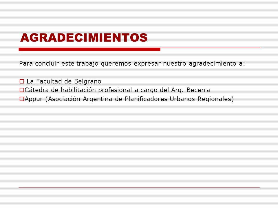 AGRADECIMIENTOS Para concluir este trabajo queremos expresar nuestro agradecimiento a: La Facultad de Belgrano.