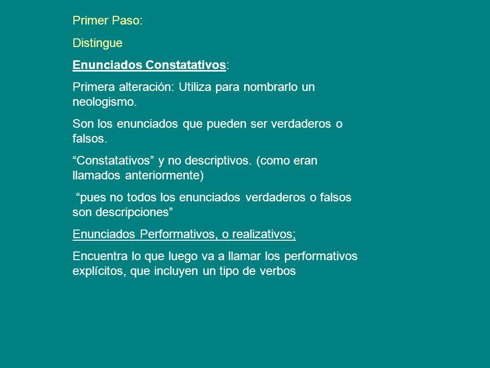 Primer Paso: Distingue. Enunciados Constatativos: Primera alteración: Utiliza para nombrarlo un neologismo.