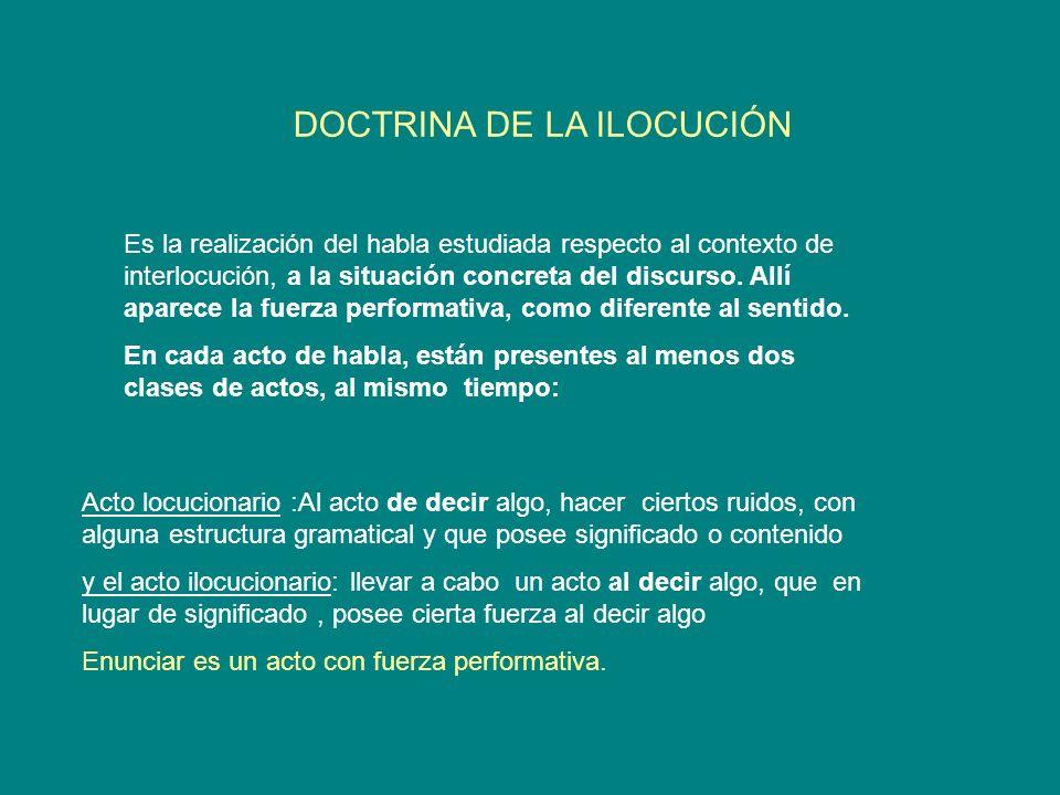 DOCTRINA DE LA ILOCUCIÓN
