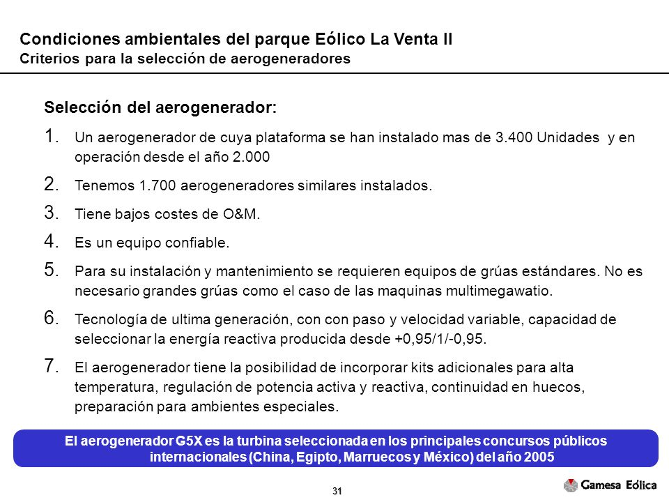 Condiciones ambientales del parque Eólico La Venta II