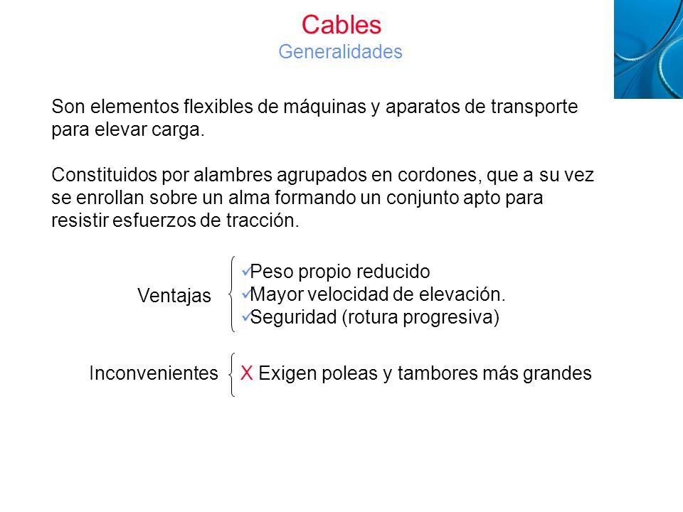 Cables Generalidades Cables Metálicos. Son elementos flexibles de máquinas y aparatos de transporte para elevar carga.