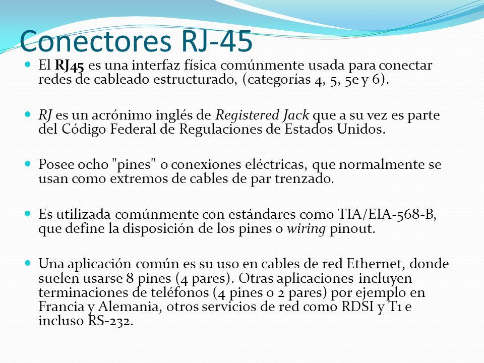 Conectores RJ-45 El RJ45 es una interfaz física comúnmente usada para conectar redes de cableado estructurado, (categorías 4, 5, 5e y 6).