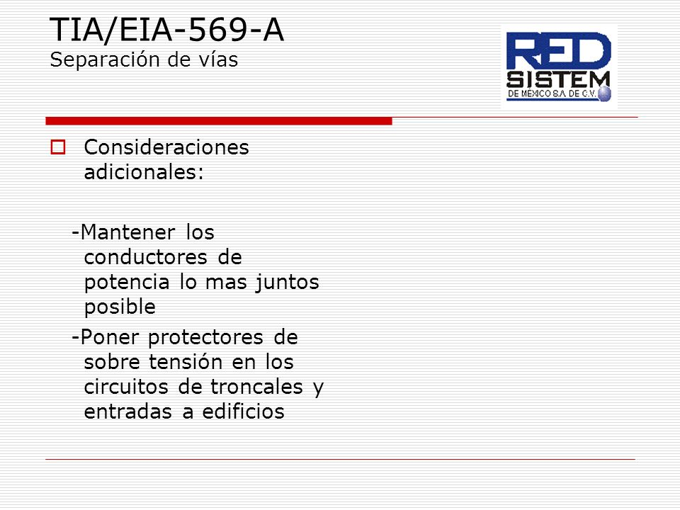 TIA/EIA-569-A Separación de vías