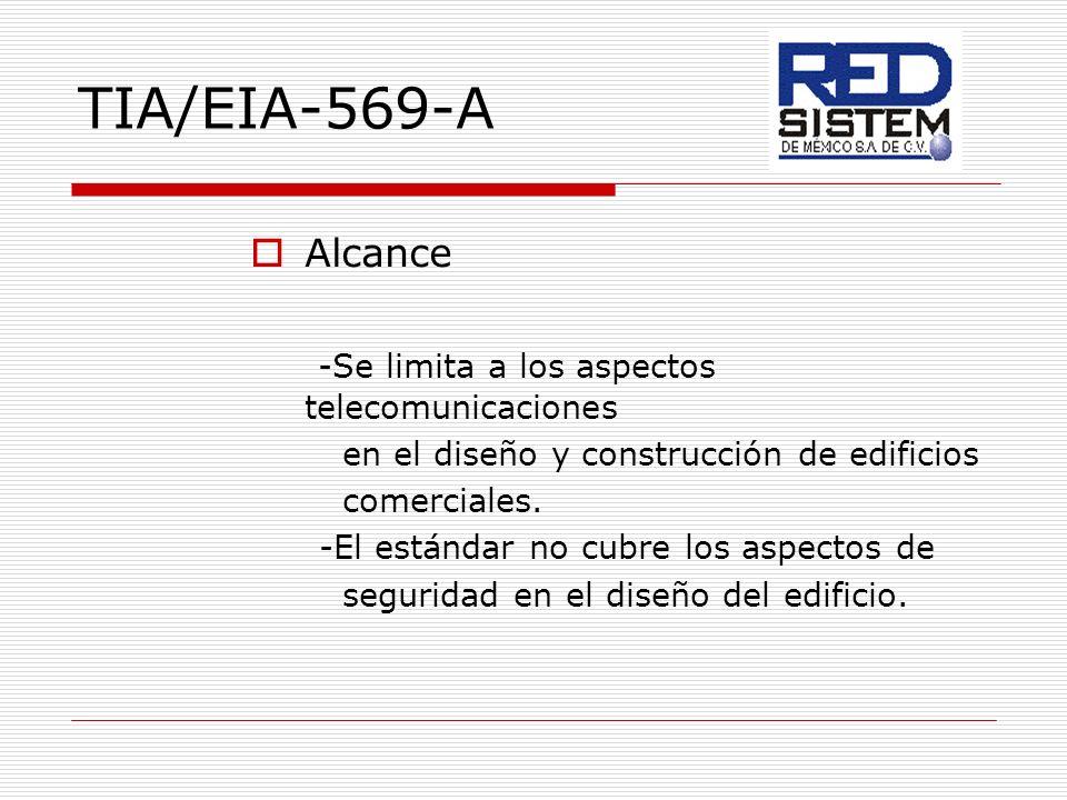TIA/EIA-569-A Alcance -Se limita a los aspectos telecomunicaciones