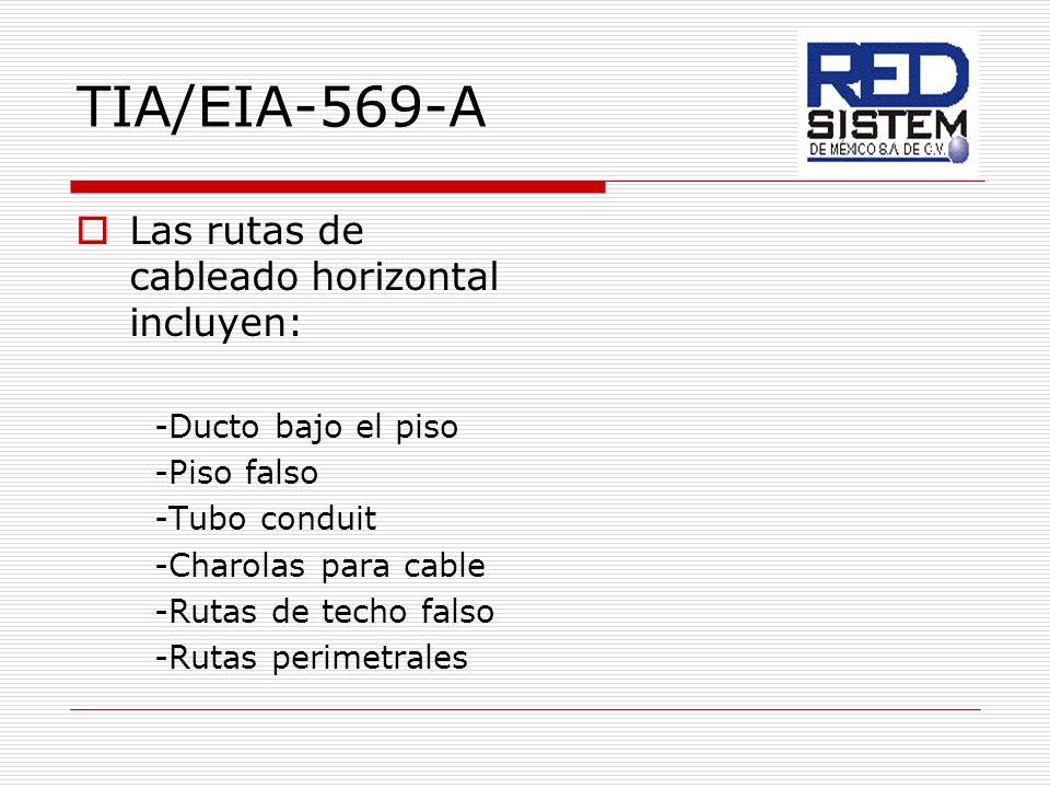 TIA/EIA-569-A Las rutas de cableado horizontal incluyen: