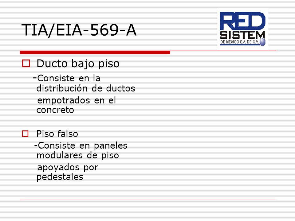 TIA/EIA-569-A Ducto bajo piso -Consiste en la distribución de ductos