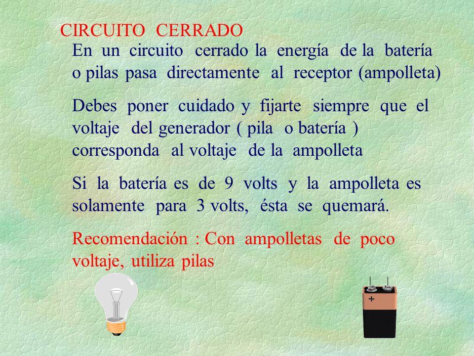 CIRCUITO CERRADO En un circuito cerrado la energía de la batería o pilas pasa directamente al receptor (ampolleta)
