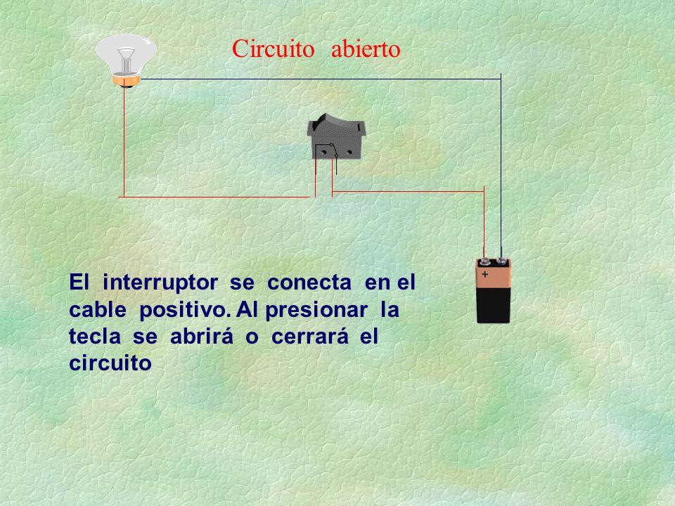 Circuito abierto El interruptor se conecta en el cable positivo.
