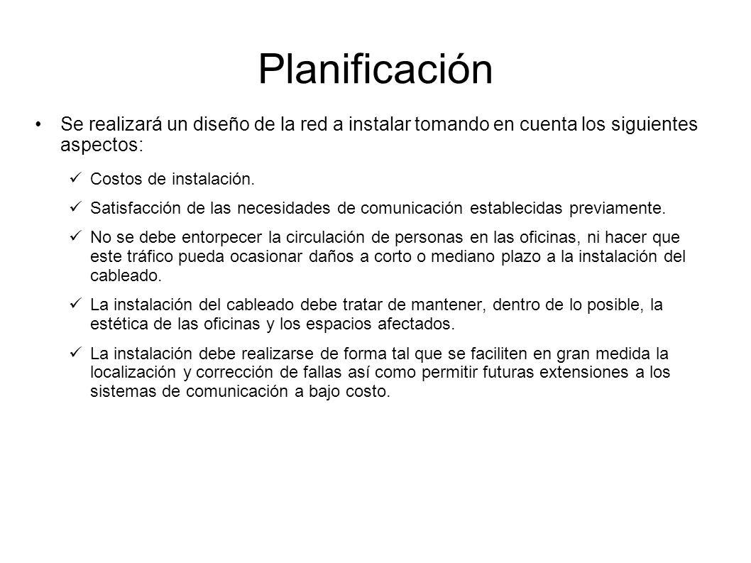 Planificación Se realizará un diseño de la red a instalar tomando en cuenta los siguientes aspectos: