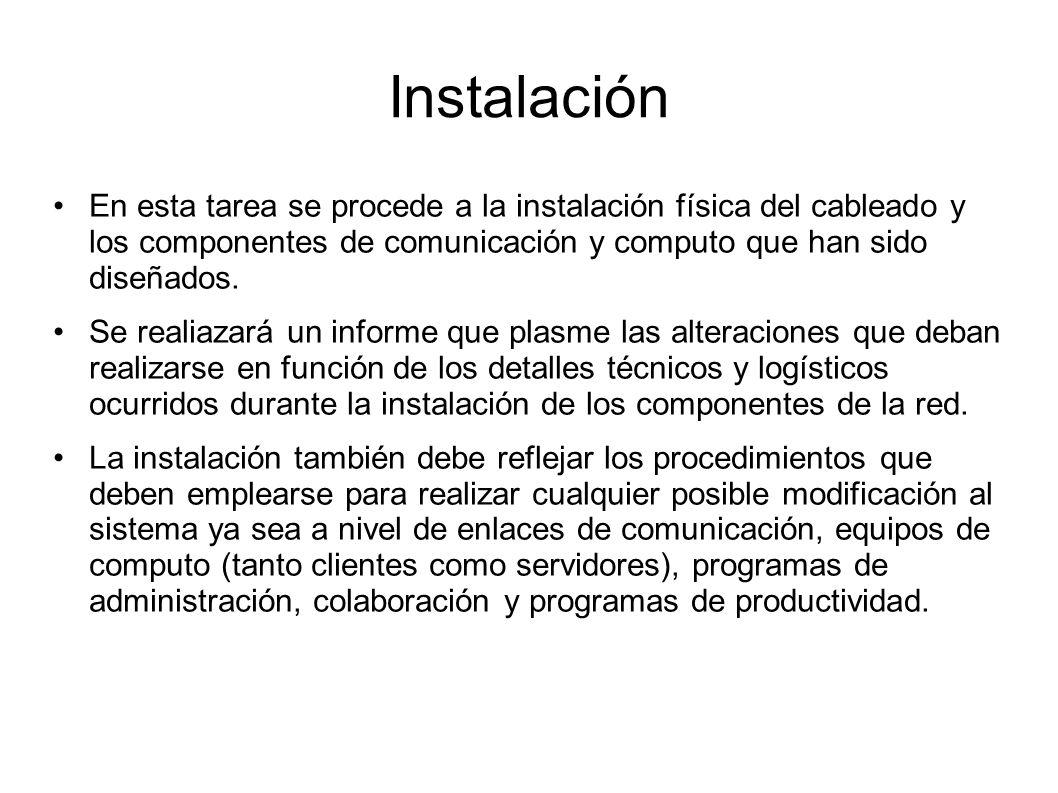 Instalación En esta tarea se procede a la instalación física del cableado y los componentes de comunicación y computo que han sido diseñados.