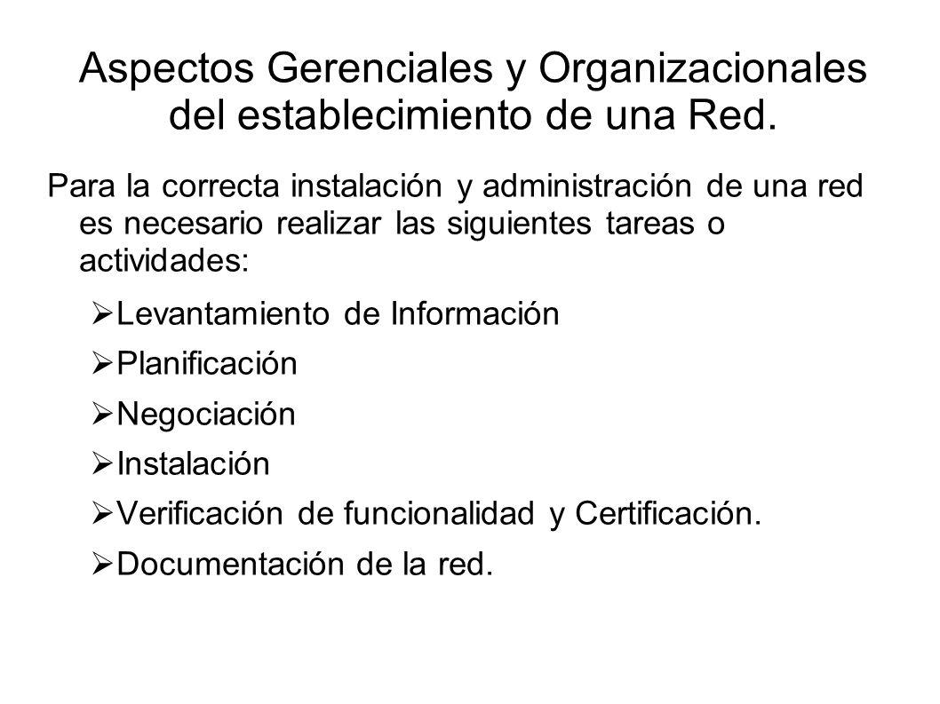 Aspectos Gerenciales y Organizacionales del establecimiento de una Red.