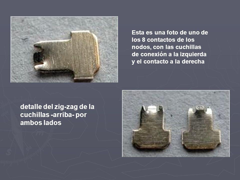 detalle del zig-zag de la cuchillas -arriba- por ambos lados