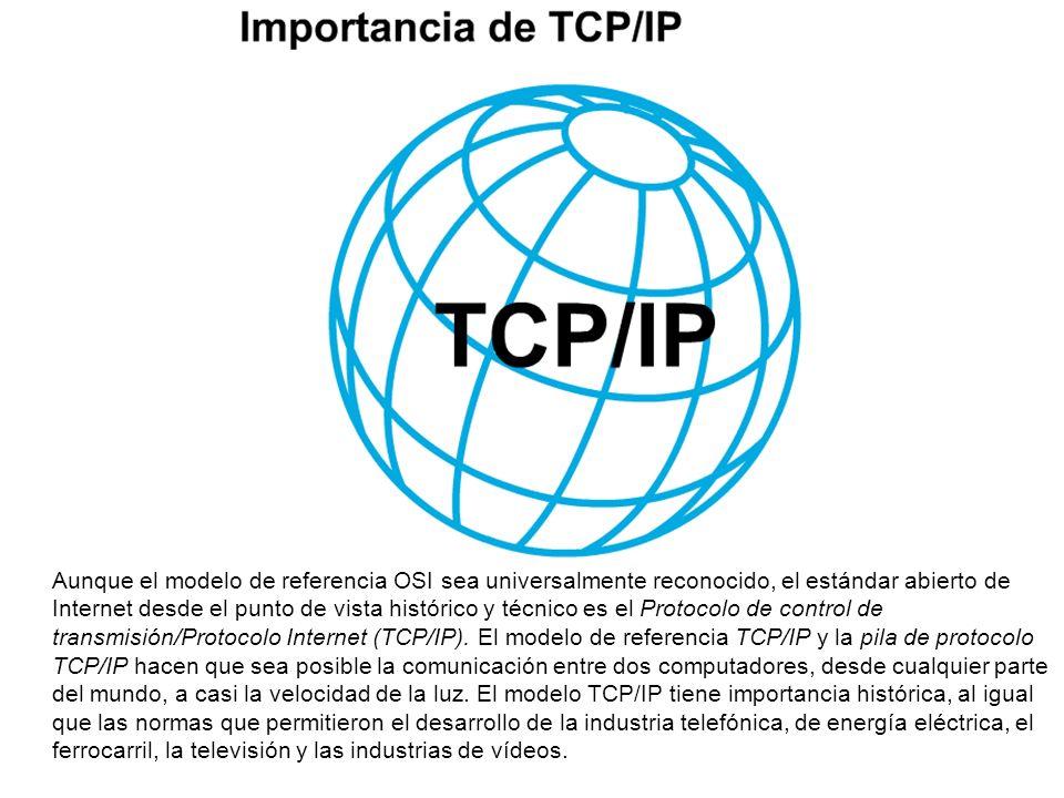 Aunque el modelo de referencia OSI sea universalmente reconocido, el estándar abierto de Internet desde el punto de vista histórico y técnico es el Protocolo de control de transmisión/Protocolo Internet (TCP/IP).