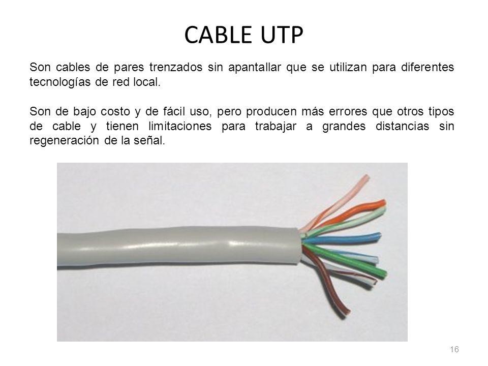 CABLE UTP Son cables de pares trenzados sin apantallar que se utilizan para diferentes tecnologías de red local.