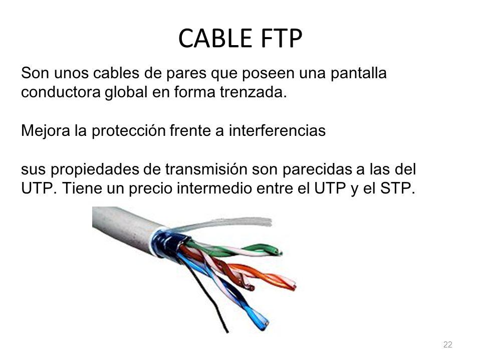 CABLE FTP Son unos cables de pares que poseen una pantalla conductora global en forma trenzada. Mejora la protección frente a interferencias.