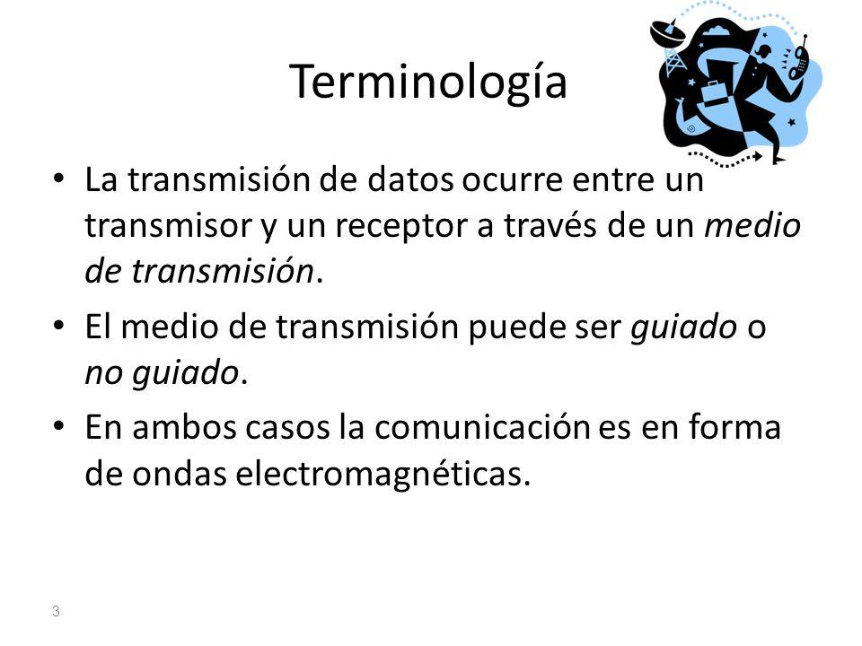 Terminología La transmisión de datos ocurre entre un transmisor y un receptor a través de un medio de transmisión.