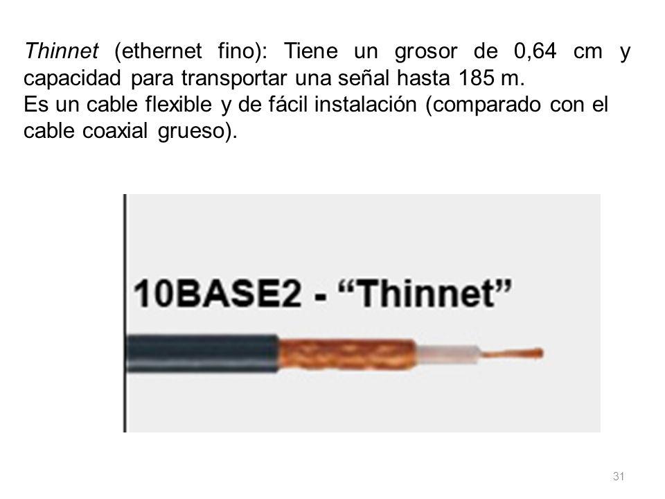 Thinnet (ethernet fino): Tiene un grosor de 0,64 cm y capacidad para transportar una señal hasta 185 m.