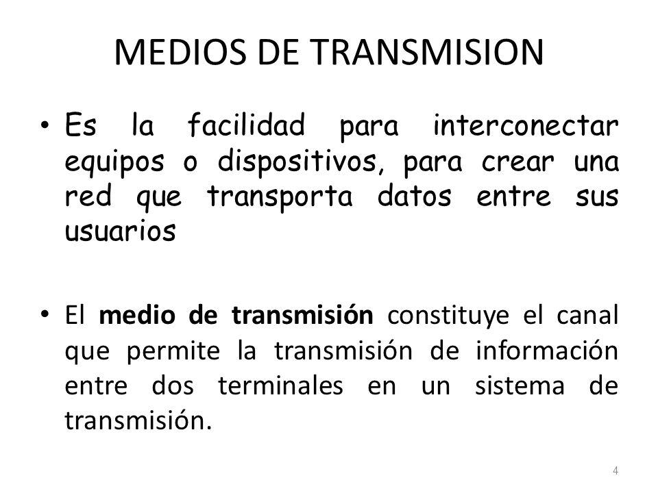 MEDIOS DE TRANSMISION Es la facilidad para interconectar equipos o dispositivos, para crear una red que transporta datos entre sus usuarios.