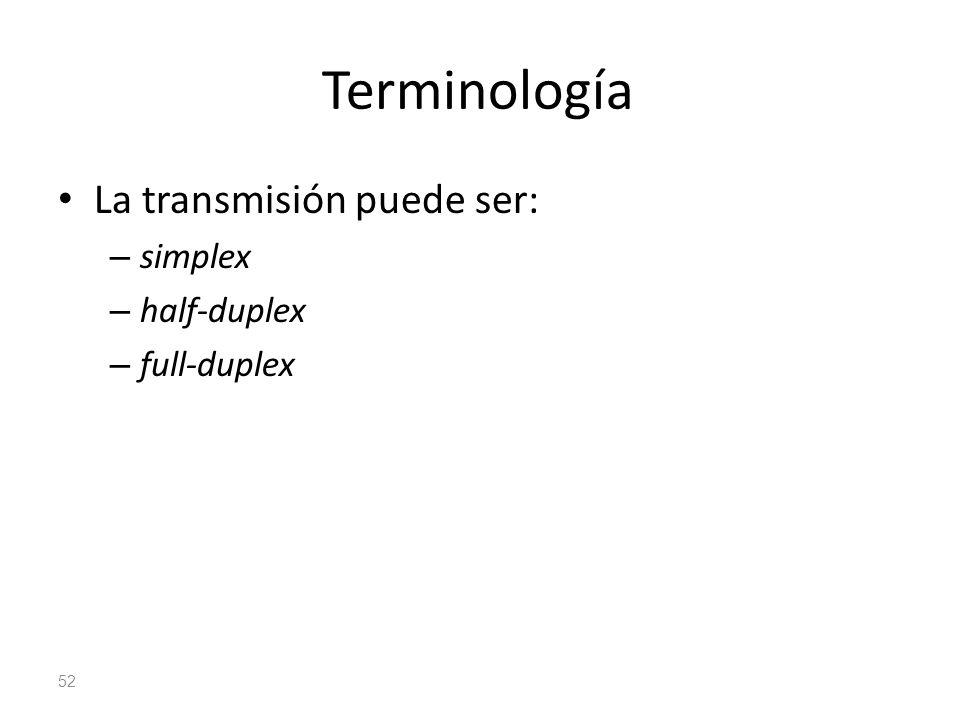 Terminología La transmisión puede ser: simplex half-duplex full-duplex