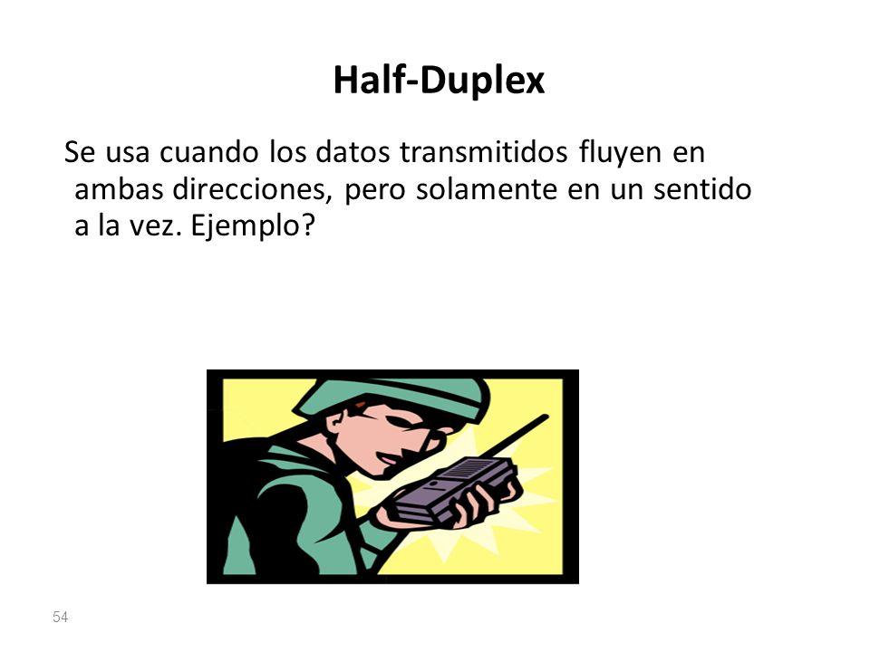 Half-Duplex Se usa cuando los datos transmitidos fluyen en ambas direcciones, pero solamente en un sentido a la vez. Ejemplo