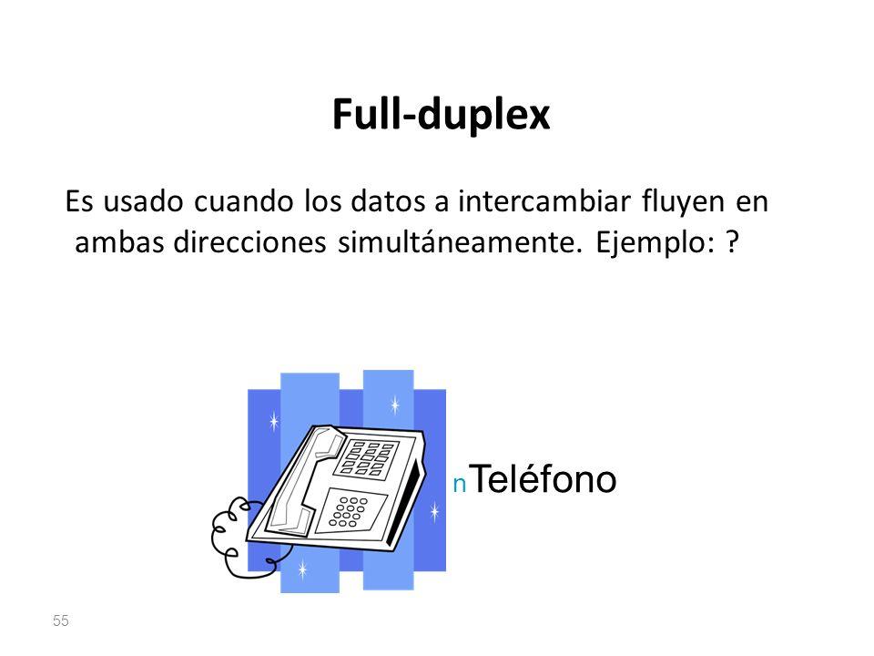 Full-duplex Es usado cuando los datos a intercambiar fluyen en ambas direcciones simultáneamente. Ejemplo: