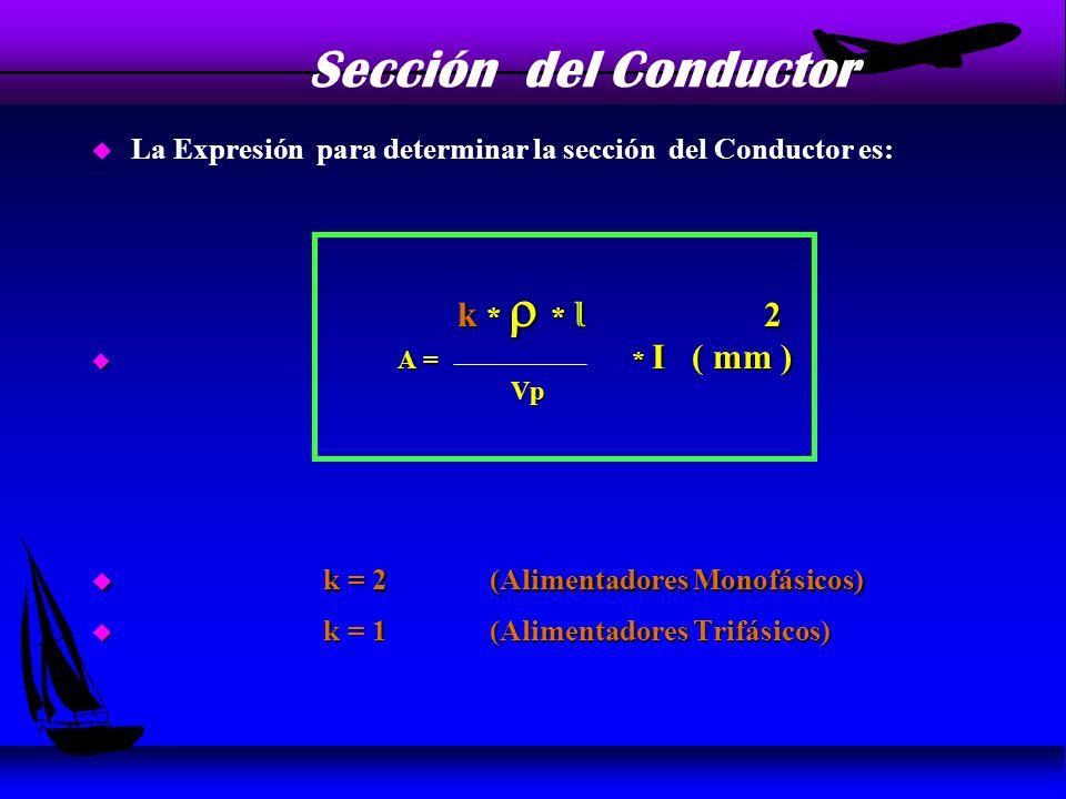 Sección del Conductor La Expresión para determinar la sección del Conductor es: k * r * l 2.