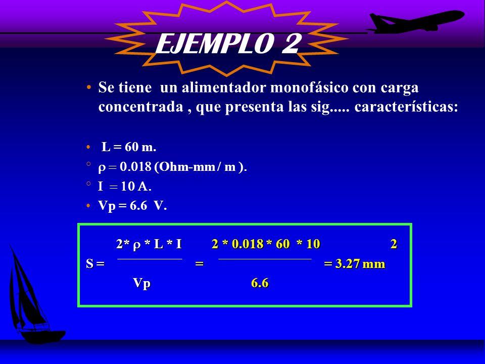 EJEMPLO 2 Se tiene un alimentador monofásico con carga concentrada , que presenta las sig..... características: