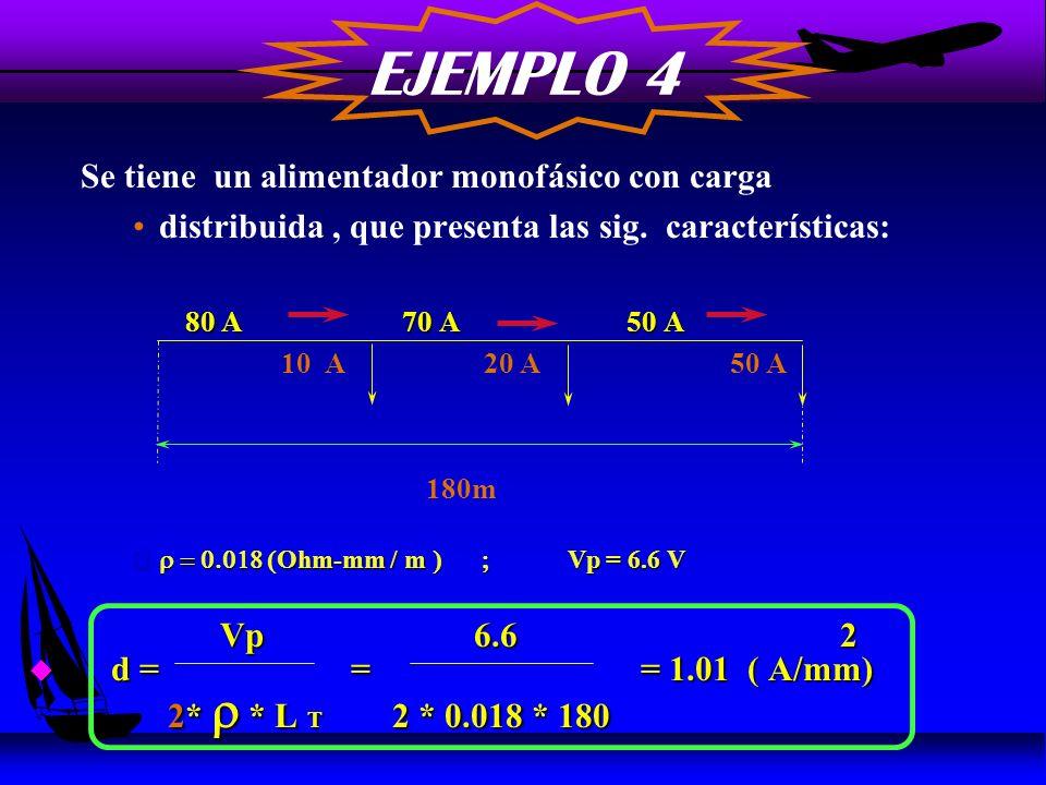 EJEMPLO 4 Se tiene un alimentador monofásico con carga