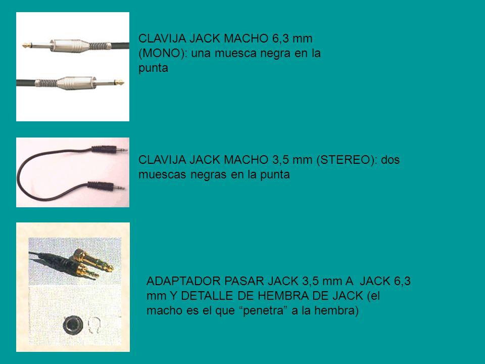 CLAVIJA JACK MACHO 6,3 mm (MONO): una muesca negra en la punta