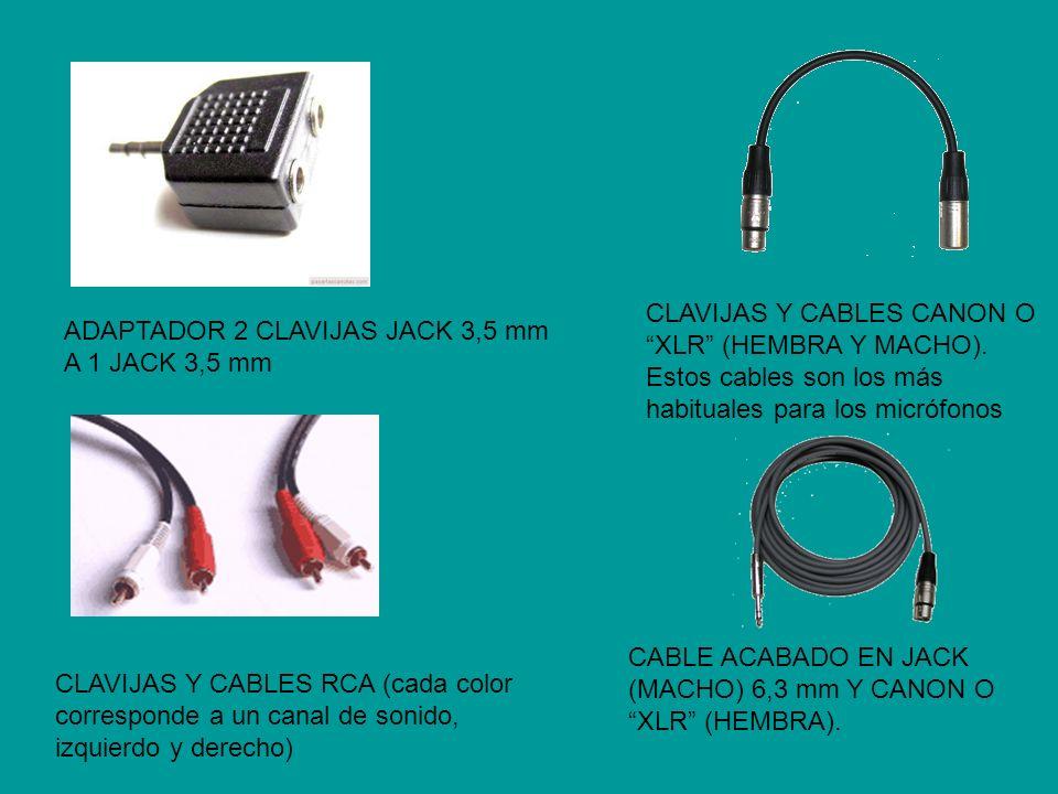 CLAVIJAS Y CABLES CANON O XLR (HEMBRA Y MACHO)