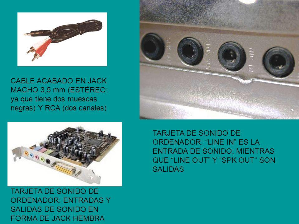 CABLE ACABADO EN JACK MACHO 3,5 mm (ESTÉREO: ya que tiene dos muescas negras) Y RCA (dos canales)