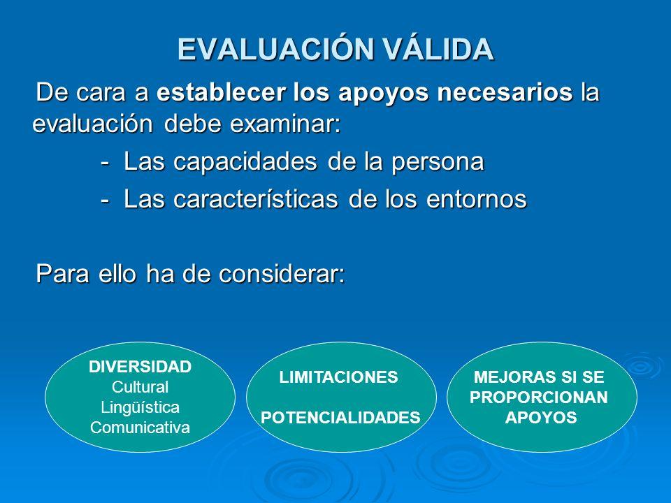 EVALUACIÓN VÁLIDA De cara a establecer los apoyos necesarios la evaluación debe examinar: - Las capacidades de la persona.
