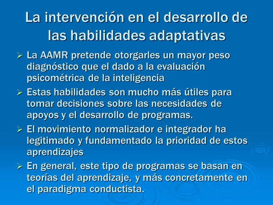 La intervención en el desarrollo de las habilidades adaptativas