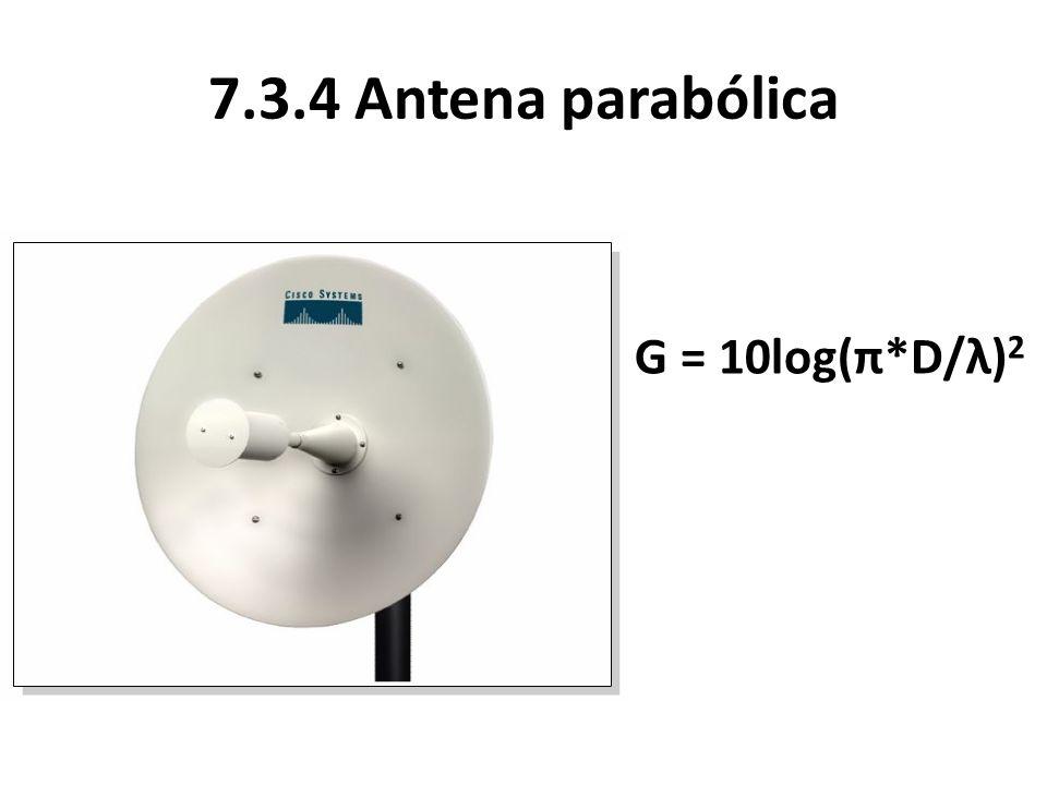 7.3.4 Antena parabólica G = 10log(π*D/λ)2