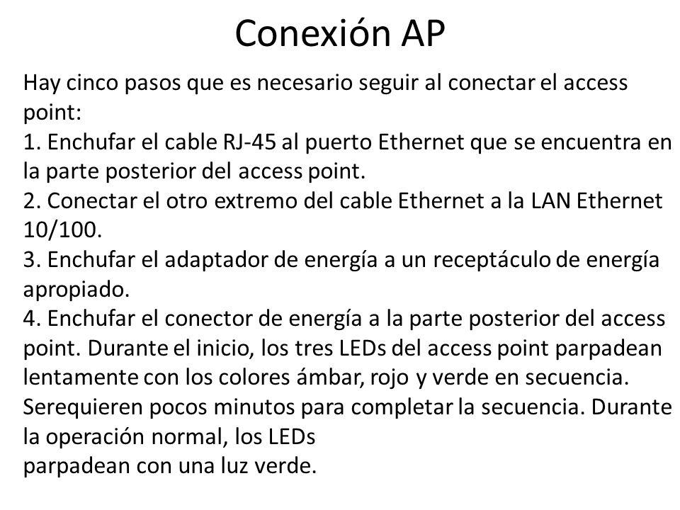 Conexión AP Hay cinco pasos que es necesario seguir al conectar el access point: