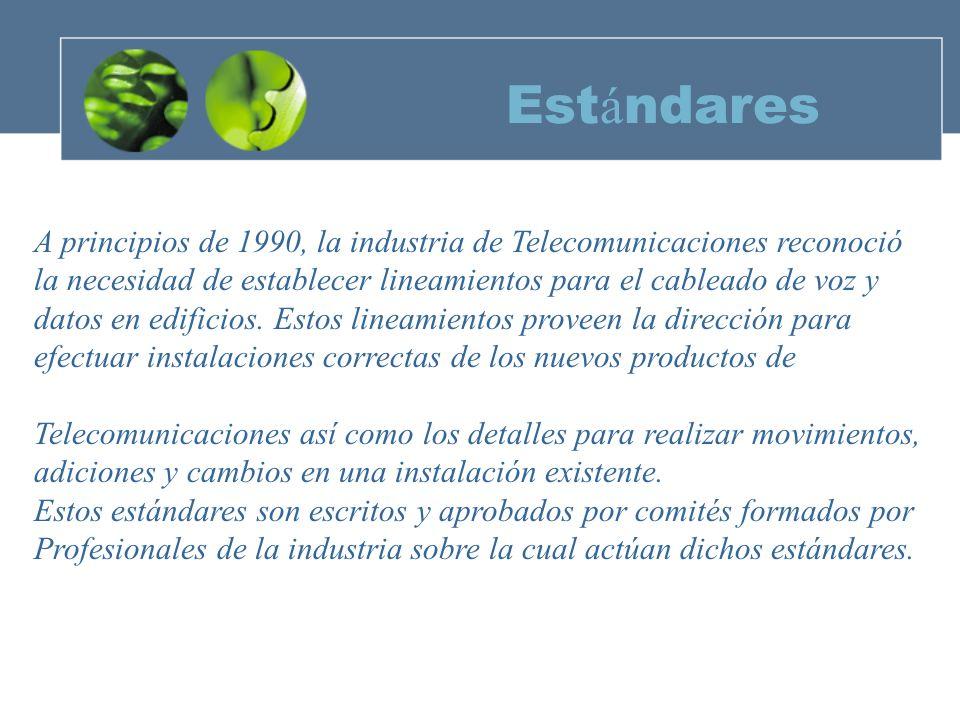 Estándares A principios de 1990, la industria de Telecomunicaciones reconoció. la necesidad de establecer lineamientos para el cableado de voz y.