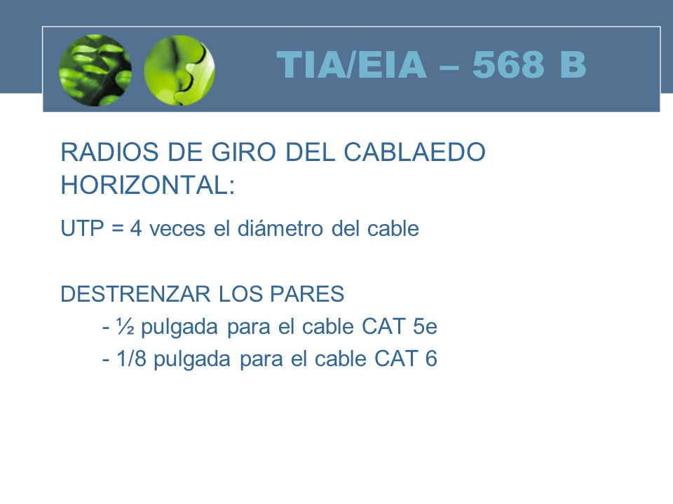 TIA/EIA – 568 B RADIOS DE GIRO DEL CABLAEDO HORIZONTAL: