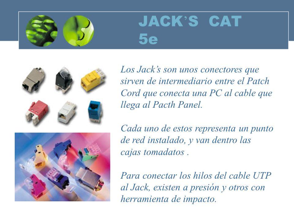 JACK'S CAT 5e Los Jack's son unos conectores que sirven de intermediario entre el Patch. Cord que conecta una PC al cable que.