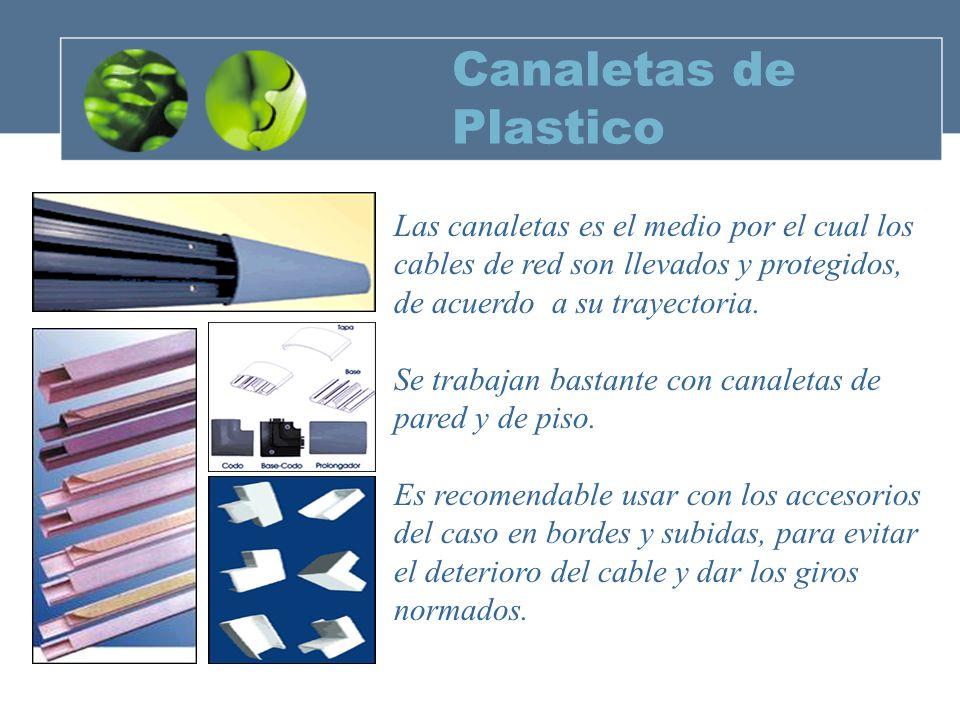 Canaletas de Plastico Las canaletas es el medio por el cual los cables de red son llevados y protegidos, de acuerdo a su trayectoria.