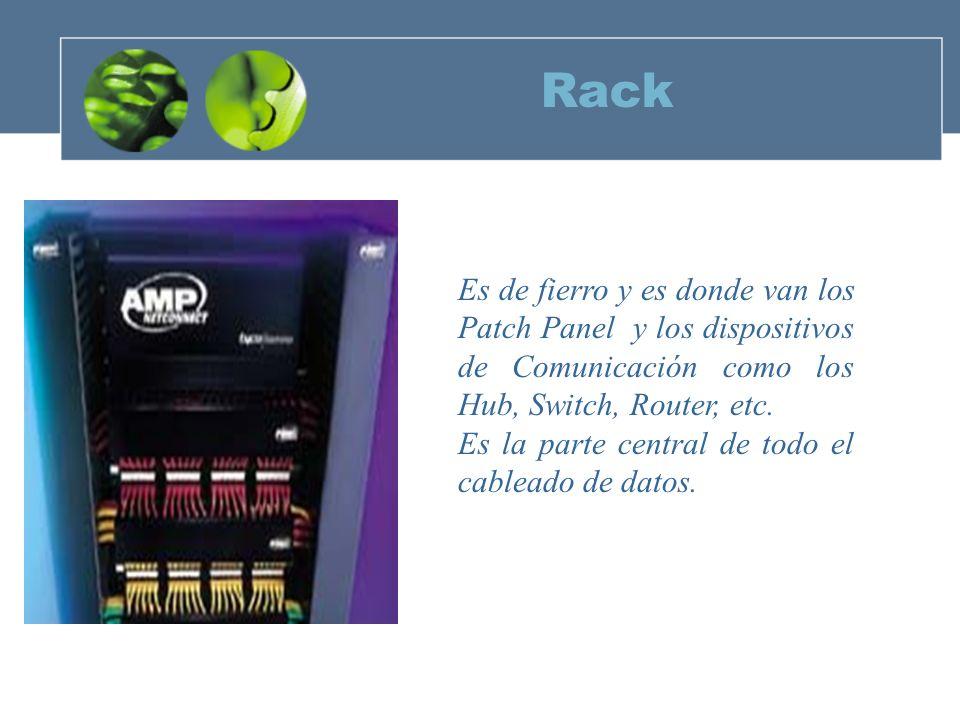 Rack Es de fierro y es donde van los Patch Panel y los dispositivos de Comunicación como los Hub, Switch, Router, etc.