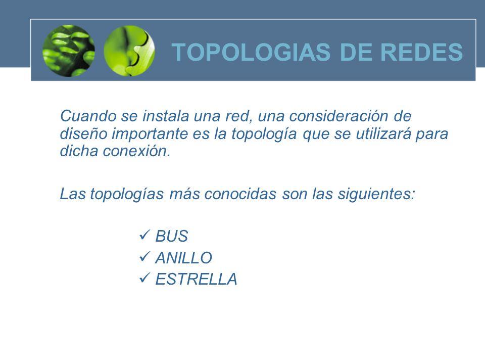 TOPOLOGIAS DE REDES Las topologías más conocidas son las siguientes: