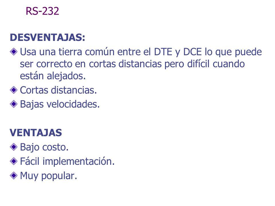 RS-232 DESVENTAJAS: Usa una tierra común entre el DTE y DCE lo que puede ser correcto en cortas distancias pero difícil cuando están alejados.